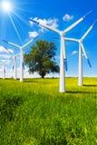 Elektryczni Wiatrowi generatory w wsi Obraz Royalty Free