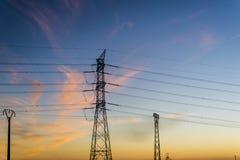 Elektryczność pilony, Hiszpania obrazy stock