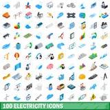 100 elektryczność ikon ustawiających, isometric 3d styl Obrazy Stock