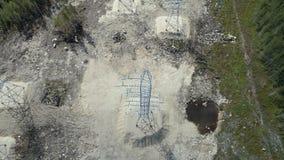 Elektryczność pilonów widok z lotu ptaka zbiory wideo