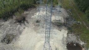 Elektryczność pilonów widok z lotu ptaka zdjęcie wideo
