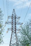Elektryczność przekazu linia energetyczna na niebieskiego nieba tle Wysokonapięciowy elektryczny wierza wśród drzew Fotografia Royalty Free