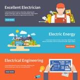 Elektryczność sztandaru set ilustracji