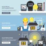 Elektryczność sztandary Ustawiający ilustracji