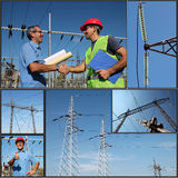 Elektryczności dystrybucja - kolaż Zdjęcie Stock