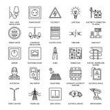 Elektryczności inżynierii mieszkania linii wektorowe ikony Elektryczny wyposażenie, władzy nasadka, drzejący drut, energetyczny m ilustracji