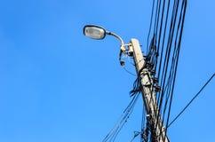 Elektryczności poczta z jasnym niebieskim niebem Obraz Stock