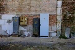 Elektryczny dystrybutor zniszczony budynek sklep Fotografia Stock