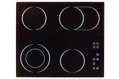 Elektryczny hob z ceramicznym powierzchni i dotyka pulpitem operatora odizolowywającym na bielu obrazy stock