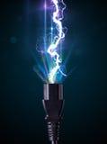Elektryczny kabel z rozjarzoną elektryczności błyskawicą Zdjęcia Stock
