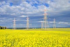 Elektryczny koloru żółtego pole Fotografia Royalty Free