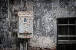 Elektryczny kontrolny pudełko na ścianie zdjęcia royalty free