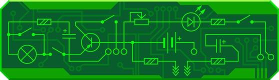 Elektryczny obwód radiowy przyrządu opór, tranzystor, dioda, capacitor, induktor Wektorowy tło Fotografia Stock