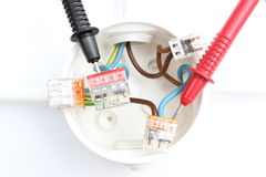 Elektryczny pudełko z kablowym multimeter Obrazy Royalty Free