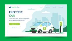 Elektryczny samochód ładuje desantową stronę - pojęcie ilustracja dla środowiska, ekologia, trwałość, czyste powietrze, przyszłoś royalty ilustracja