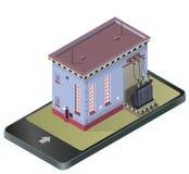 Elektryczny transformatorowy isometric budynek w telefonie komórkowym Wektorowa wysokonapięciowa elektrownia w technologii komuni Obrazy Royalty Free