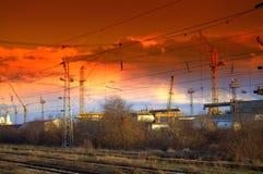 Elektrycznych drutów linie kolejowe Zdjęcia Royalty Free