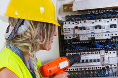 elektryka elektryczności pomiarowa praca Zdjęcie Stock