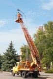 Elektryka naprawiania latarnia uliczna Obrazy Royalty Free