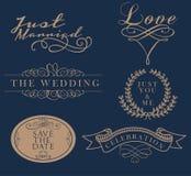 Elelments свадьбы лета ярлыка знамени иллюстрация штока