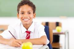 Elemantary schoolboy. Happy elementary schoolboy writing in classroom Royalty Free Stock Image