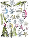 Elemants decorativos da tração da mão do Natal,    Imagem de Stock Royalty Free