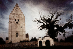 The Elmelunde Church on the island Moen, Denmark. The medieval Elmelunde Church on the island Moen, Denmark, famous for its wall medieval paintings. Picture with Stock Photos