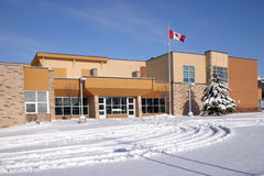 Elemenetary school. This building is an elementary school in Canada under the snow Royalty Free Stock Images