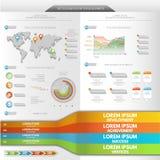 elementów grafika infographics ewidencyjnej mapy ustalony świat Obrazy Stock