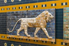 Element with animals of the Babylonian wall in the museum in Turkey. ISTANBUL, TURKEY - 4 APRIL , 2017:Element with animals of the Babylonian wall in the museum stock image