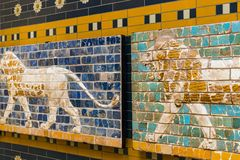 Element with animals of the Babylonian wall in the museum in Turkey. ISTANBUL, TURKEY - 4 APRIL , 2017:Element with animals of the Babylonian wall in the museum royalty free stock photo