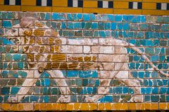 Element with animals of the Babylonian wall in the museum in Turkey. ISTANBUL, TURKEY - 4 APRIL , 2017:Element with animals of the Babylonian wall in the museum stock images