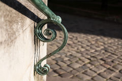 Element of the architecture of the ancient church in Lviv, Ukraine. Railing stock photo