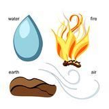 Element of astrological water, earth, air, fire. Vector   Royalty Free Stock Photography