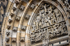 Element of baroque stucco molding of St. Vitus Cathedral in the Royalty Free Stock Photo