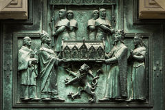 Element of baroque stucco molding of St. Vitus Cathedral in the Stock Photography