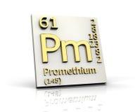 element bildar den periodiska promethiumtabellen stock illustrationer