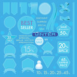 Element Blue sea Leather labels on Winter set concept Royalty Free Stock Photo