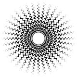 Element with bursting radial distorted lines. Black and white ge Royalty Free Stock Photo