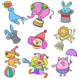Element circus cute animal doodles Stock Photo