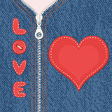 Element of clothes with zipper and heart Stock Photos