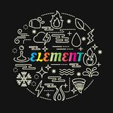 Element colorful gradient with line icons set Stock Photos