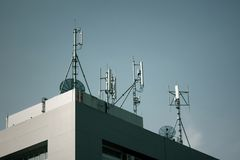 Element of communication devices, big antennas mounted on a roof Stock Image
