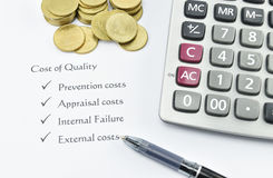 Element of Cost of Quality on white paper with money, pen and ca Royalty Free Stock Photography