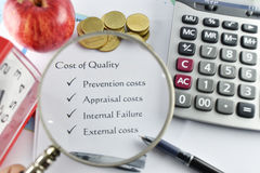 Element of Cost of Quality on white paper with money, pen and ca Royalty Free Stock Photo