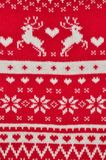 Element decor Christmas red knitted sweater close-up. Holiday gift. Backgdound stock photo