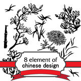 8 element for design in chinese style. Set of 8 floral ink element for design in chinese or japanese style - twig of magnolia, bamboo, flower of chrysanthemum Royalty Free Stock Photography