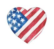 Watercolor stylized heart in the colors of the USA flag. royalty free stock photos