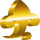 Element of design - a golden cartouche. Royalty Free Stock Images