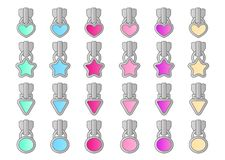 Set of cute little locks in light pink, purple, green, blue, yellow colors. Element of design for lol doll surprise themed girls party. Silver metallic zipper vector illustration